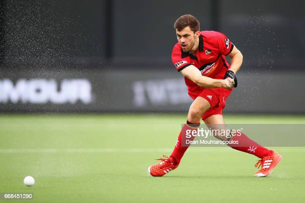 Matthew Bell of Banbridge Hockey Club in action during the Euro Hockey League KO16 match between Banbridge HC and Racing Club de France at held at HC...