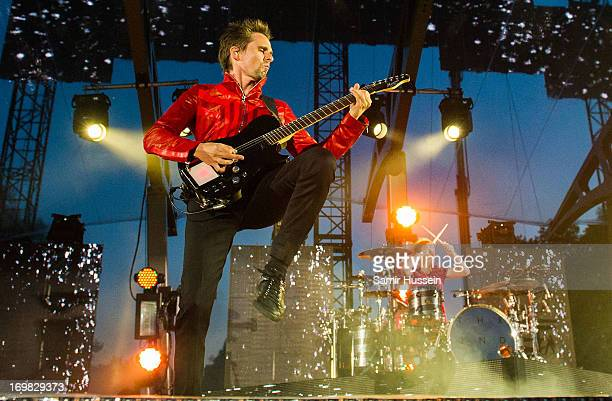 Matthew Bellamy and Dominic Howard of Muse perform a special gig following World Premiere of World War Z at Horse Guards Parade on June 2 2013 in...