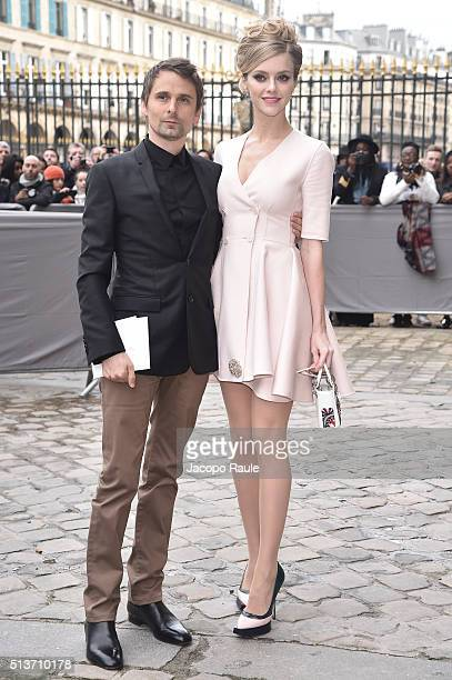 Matthew Bellamy and Elle Evans are seen arriving at Dior fashion show during Paris Fashion Week Womenswear Fall Winter 2016/2017 on March 4 2016 in...