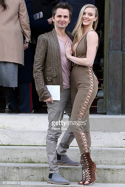 Matthew Bellamy and Elle Evans arrive at the Balmain show as part of the Paris Fashion Week Womenswear Fall/Winter 2016/2017 on March 3 2016 in Paris...