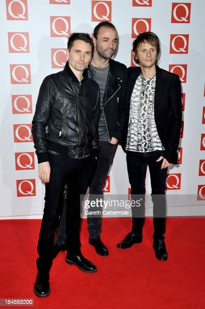 Matthew Bellamy Chris Wolstenholme and Dominic Howard of Muse attend the Q Awards at the Grosvenor House Hotel on October 22 2012 in London England