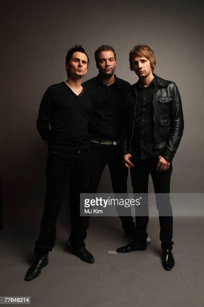 Matthew Bellamy, Chris Wolstenholme and Dominic Howard of Muse poses in the Studio during the MTV Europe Music Awards 2007 at the Olympiahalle on...