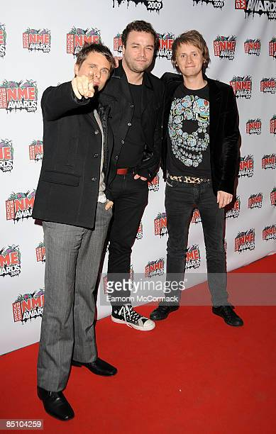 Matthew Bellamy Christopher Wolstenholme and Dominic Howard of Muse attend the Shockwaves NME Awards at O2 Academy Brixton on February 25 2009 in...
