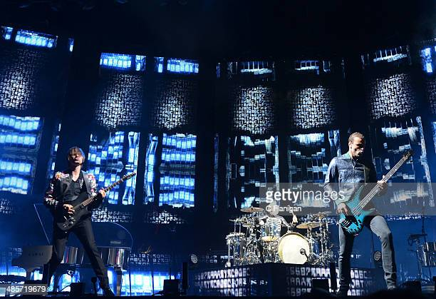 Matthew Bellamy Dominic Howard and Chris Wolstenholme of MUSE perform during the 2014 Coachella Valley Music And Arts Festival at The Empire Polo...
