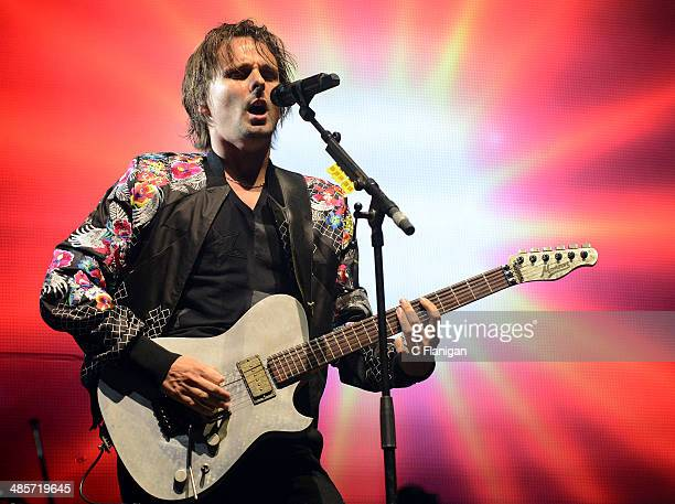 Matthew Bellamy of MUSE performs during the 2014 Coachella Valley Music And Arts Festival at The Empire Polo Club on April 19 2014 in Indio California