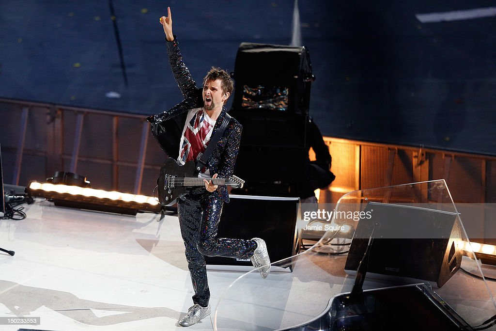 Matthew Bellamy of Muse performs during the Closing Ceremony on Day 16 of the London 2012 Olympic Games at Olympic Stadium on August 12, 2012 in London, England.
