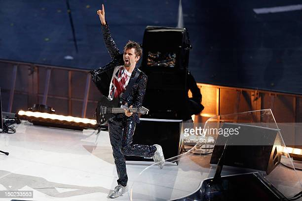 Matthew Bellamy of Muse performs during the Closing Ceremony on Day 16 of the London 2012 Olympic Games at Olympic Stadium on August 12 2012 in...