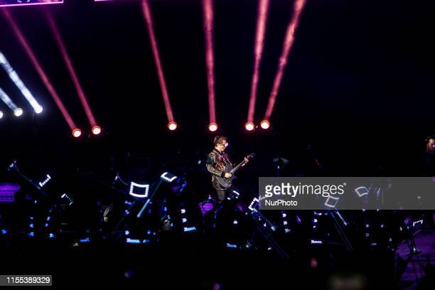 Matthew Bellamy of Muse performs live at Stadio San Siro in Milano, Italy, on July 12 2019