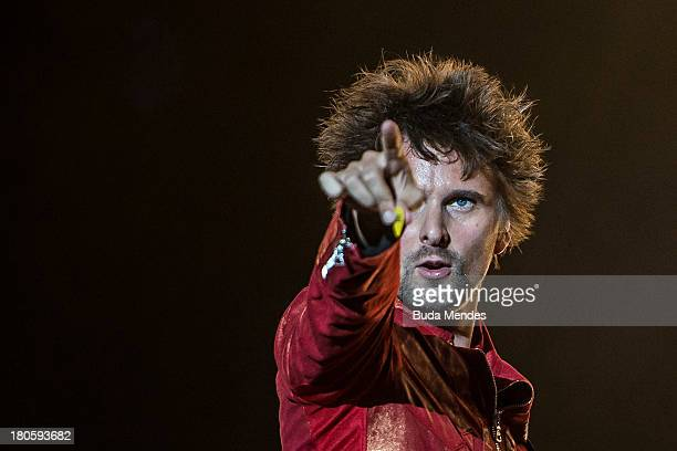 Matthew Bellamy of MUSE performs on stage during a concert in the Rock in Rio Festival on September 14 2013 in Rio de Janeiro Brazil