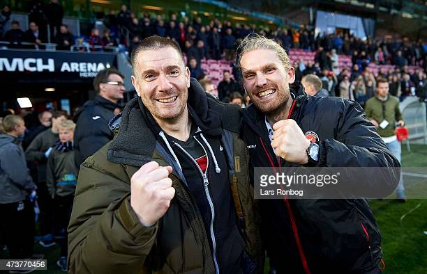 Matthew Benham owner of FC Yidtjyllland and president Rasmus Andersen celebrate after the Danish Alka Superliga match between FC Midtjylland and FC...