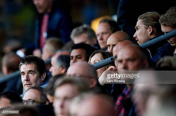 Matthew Benham shareholder in FC Midtjylland and Rasmus Ankersen president of FC Midtjylland looks on during the Danish Alka Superliga match between...