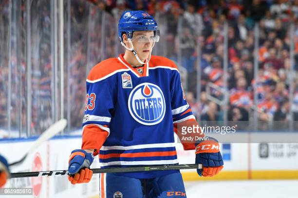 Matthew Benning of the Edmonton Oilers lines up for a face off during the game against the San Jose Sharks on March 30 2017 at Rogers Place in...