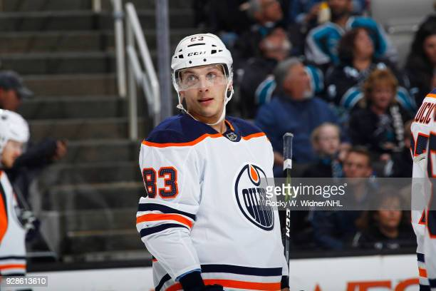 Matthew Benning of the Edmonton Oilers looks on during the game against the San Jose Sharks at SAP Center on February 27 2018 in San Jose California
