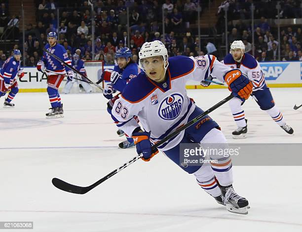 Matthew Benning of the Edmonton Oilers skates against the New York Rangers at Madison Square Garden on November 3 2016 in New York City The Rangers...