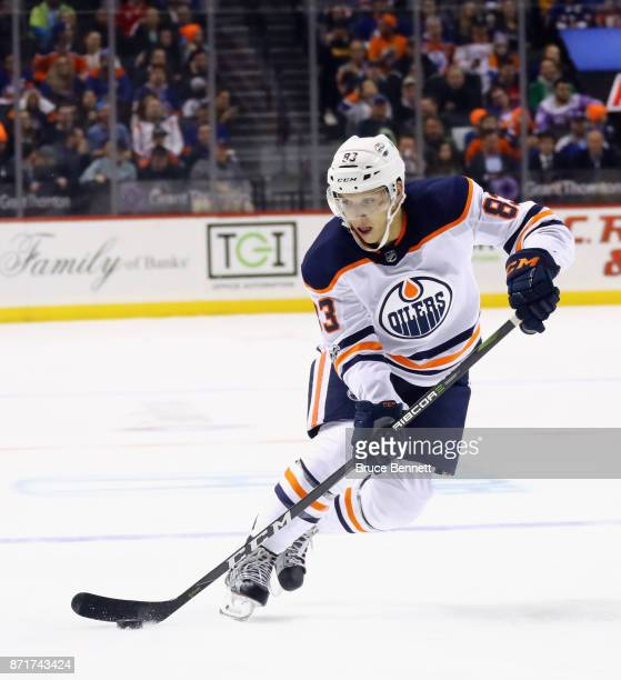 Matthew Benning of the Edmonton Oilers skates against the New York Islanders at the Barclays Center on November 7 2017 in the Brooklyn borough of New...