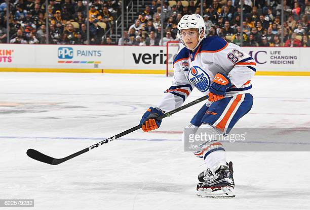 Matthew Benning of the Edmonton Oilers skates against the Pittsburgh Penguins at PPG Paints Arena on November 8 2016 in Pittsburgh Pennsylvania