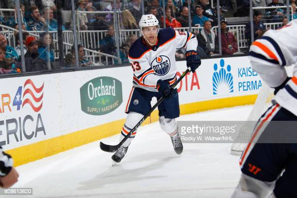 Matthew Benning of the Edmonton Oilers skates against the San Jose Sharks at SAP Center on February 27 2018 in San Jose California