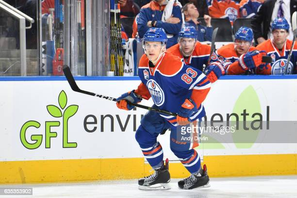 Matthew Benning of the Edmonton Oilers skates during the game against the Arizona Coyotes on February 14 2017 at Rogers Place in Edmonton Alberta...