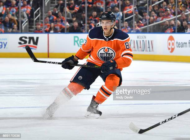 Matthew Benning of the Edmonton Oilers skates during the game against the Pittsburgh Penguins on November 1 2017 at Rogers Place in Edmonton Alberta...