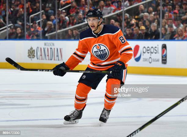 Matthew Benning of the Edmonton Oilers skates during the game against the Washington Capitals on October 28 2017 at Rogers Place in Edmonton Alberta...