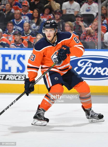 Matthew Benning of the Edmonton Oilers skates during the game against the Vancouver Canucks on January 20 2017 at Rogers Place in Edmonton Alberta...