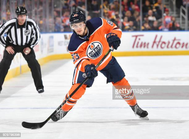 Matthew Benning of the Edmonton Oilers skates during the game against the Boston Bruins on February 20 2018 at Rogers Place in Edmonton Alberta Canada