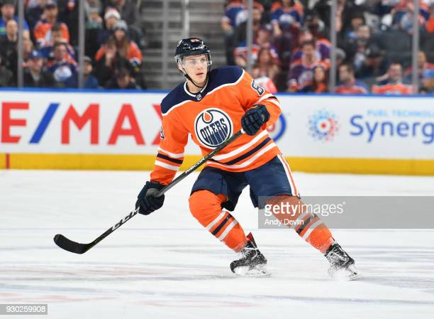 Matthew Benning of the Edmonton Oilers skates during the game against the Minnesota Wild on March 10 2018 at Rogers Place in Edmonton Alberta Canada