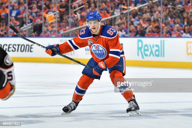 Matthew Benning of the Edmonton Oilers skates in Game Six of the Western Conference Second Round during the 2017 NHL Stanley Cup Playoffs against the...