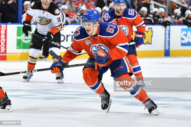 Matthew Benning of the Edmonton Oilers skates in Game Three of the Western Conference Second Round during the 2017 NHL Stanley Cup Playoffs against...