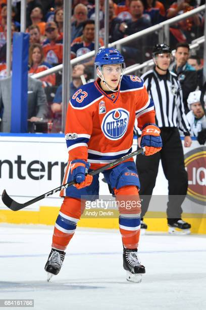 Matthew Benning of the Edmonton Oilers skates in Game Two of the Western Conference First Round during the 2017 NHL Stanley Cup Playoffs against the...