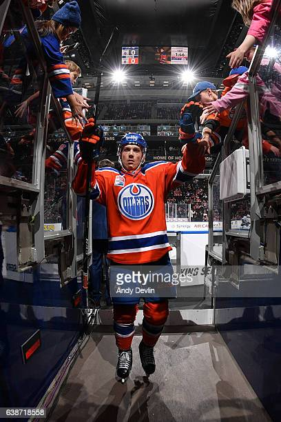 Matthew Benning of the Edmonton Oilers walks to the dressing room prior to the game against the Vancouver Canucks on December 31 2016 at Rogers Place...
