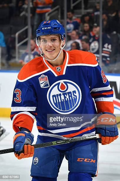 Matthew Benning of the Edmonton Oilers warms up prior to the game against the Minnesota Wild on December 4 2016 at Rogers Place in Edmonton Alberta...