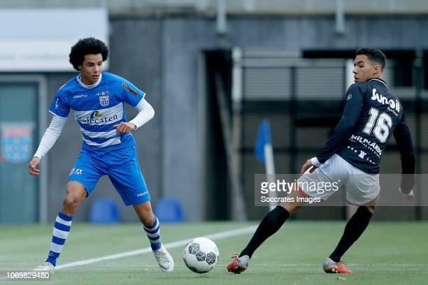 Matthew Benschop of PEC Zwolle U19 Ruben Roosken of FC Emmen U19 during the match between PEC Zwolle U19 v FC Emmen U19 at the MAC3PARK Stadion on...