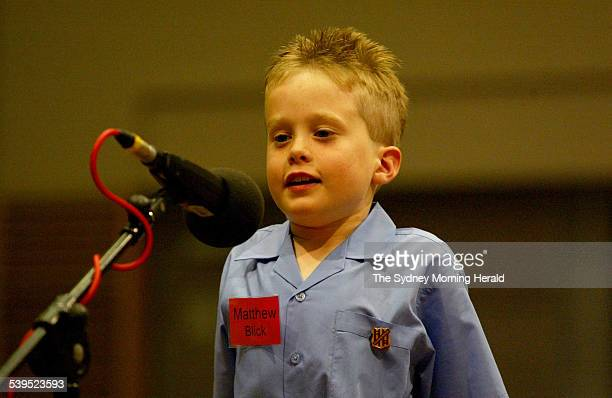 Matthew Blick of Coopernook Public School delivering his spelling answer during competition on 17 November 2004 SMH NEWS Picture by DALLAS KILPONEN
