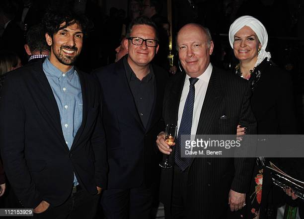 Matthew Bourne with Emma KitchenerFellowes and Julian Fellowes attend the afterparty following the press night of 'Betty Blue Eyes' at The Waldorf...