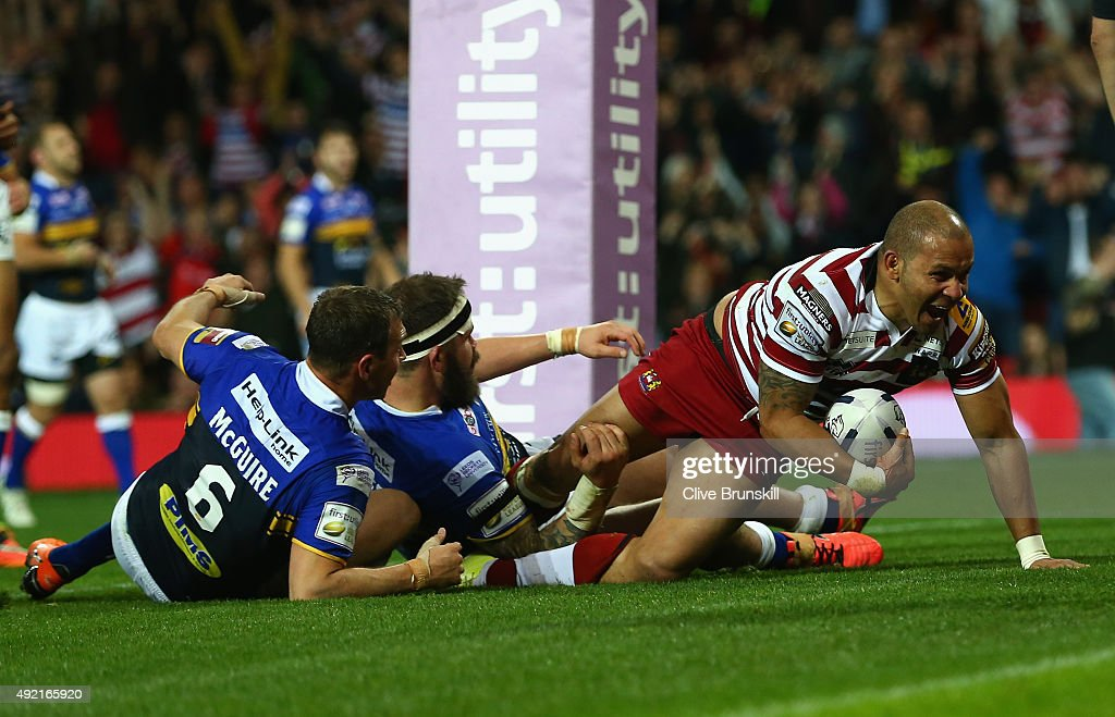 Matthew Bowen of the Wigan Warriors scores his teams third try during the First Utility Super League Grand Final between Wigan Warriors and Leeds Rhinos at Old Trafford on October 10, 2015 in Manchester, England.