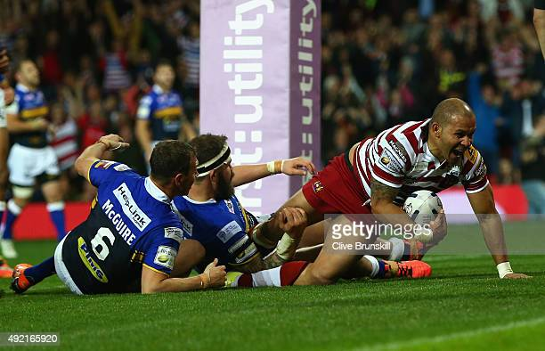 Matthew Bowen of the Wigan Warriors scores his teams third try during the First Utility Super League Grand Final between Wigan Warriors and Leeds...