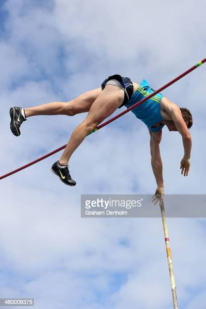 Matthew Boyd of Australia competes in the Men's pole vault open during the IAAF Melbourne World Challenge at Olympic Park on March 22 2014 in...