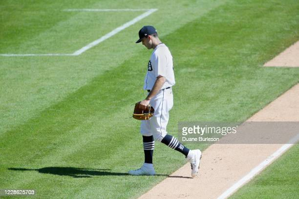 Matthew Boyd of the Detroit Tigers heads for the dugout after being pulled during the sixth inning of a game against the Cleveland Indians at...