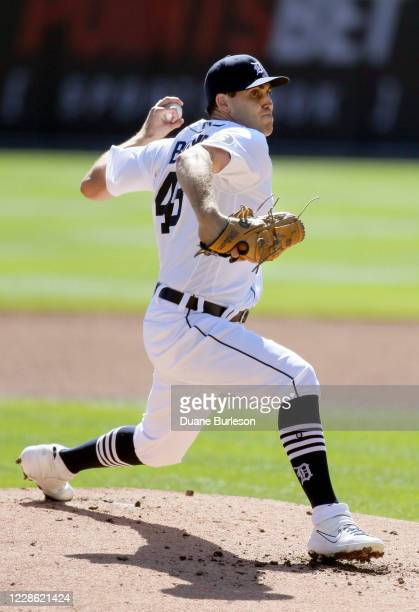 Matthew Boyd of the Detroit Tigers pitches against the Cleveland Indians during the second inning at Comerica Park on September 20 in Detroit Michigan