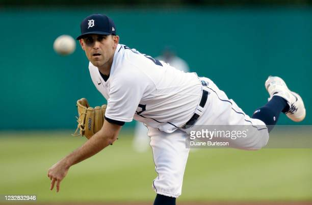 Matthew Boyd of the Detroit Tigers pitches against the Kansas City Royals during the third inning at Comerica Park on May 11 in Detroit, Michigan.