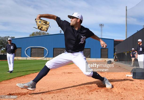 Matthew Boyd of the Detroit Tigers pitches during Spring Training workouts at the TigerTown Complex on February 15 2019 in Lakeland Florida