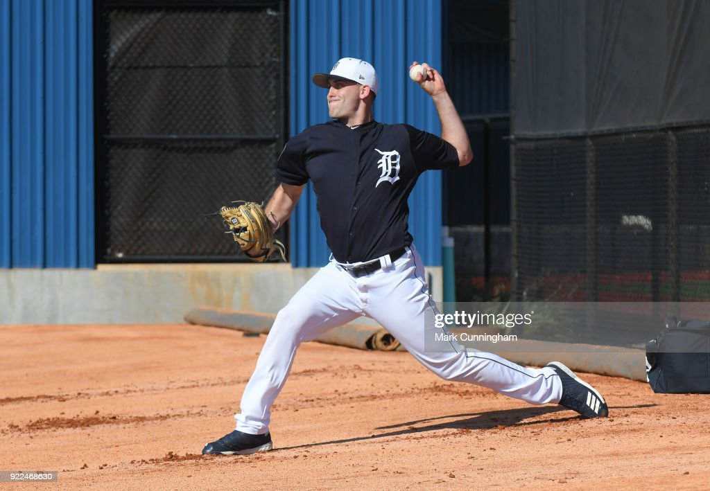 Matthew Boyd #48 of the Detroit Tigers pitches during Spring Training workouts at the TigerTown Facility on February 16, 2018 in Lakeland, Florida.