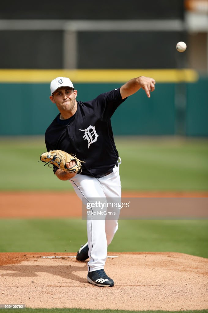 Matthew Boyd #48 of the Detroit Tigers pitches during the first inning of the Spring Training game against the Miami Marlins at Joker Marchant Stadium on March 02, 2018 in Lakeland, Florida.