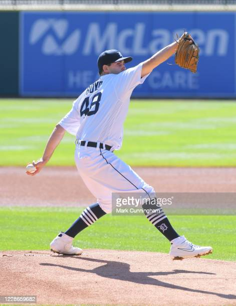 Matthew Boyd of the Detroit Tigers pitches during the game against the Cleveland Indians at Comerica Park on September 20 2020 in Detroit Michigan...
