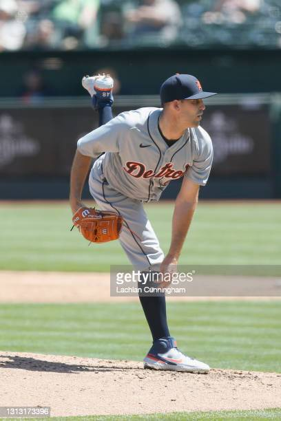 Matthew Boyd of the Detroit Tigers pitches in the bottom of the third inning against the Oakland Athletics at RingCentral Coliseum on April 18, 2021...