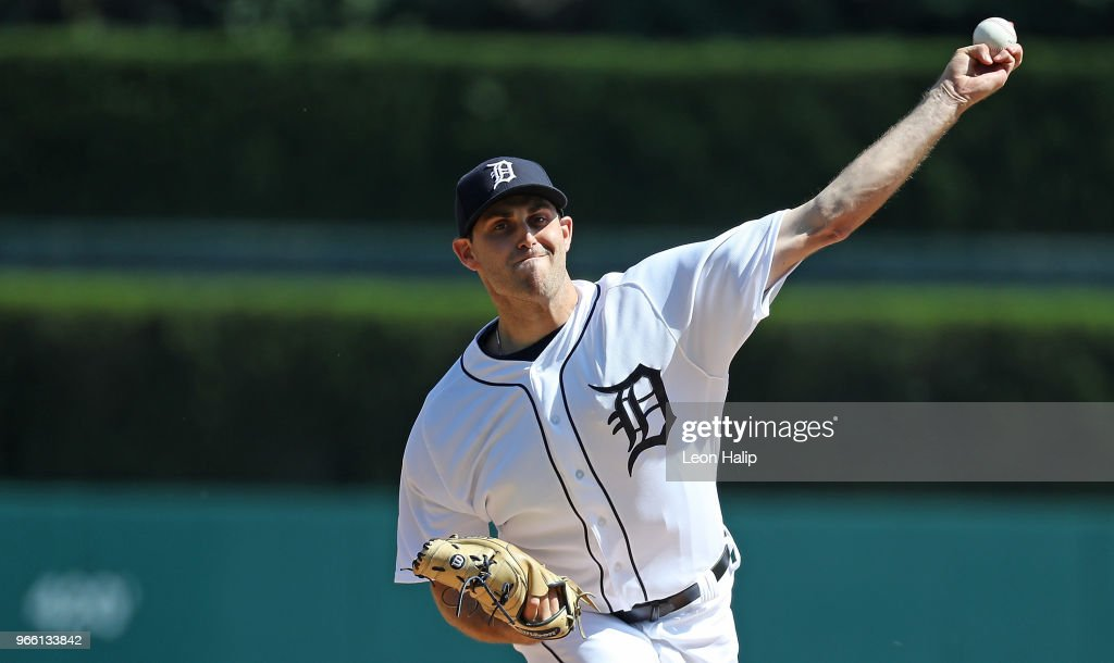 Matthew Boyd #48 of the Detroit Tigers warms up prior to the start of the game against the Toronto Blue Jays at Comerica Park on June 2, 2018 in Detroit, Michigan.