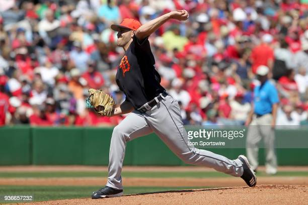 Matthew Boyd of the Tigers delivers a pitch to the plate during the spring training game between the Detroit Tigers and the Philadelphia Phillies on...