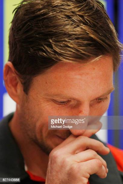 Matthew Boyd speaks to media after announcing his retirement sduring a Western Bulldogs AFL press conference at Whitten Oval on August 8 2017 in...