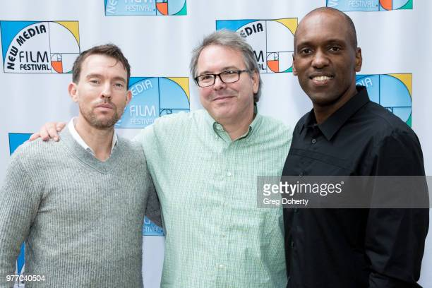 Matthew Boylan Ted Newberry and Dempsey Tillman attend the 9th Annual New Media Film Festival at James Bridges Theater on June 16 2018 in Los Angeles...